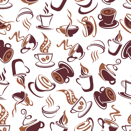 adorned: Aroma coffee retro seamless pattern with brown outline cups of fresh brewed coffee, adorned by ornamental swirls of steam and coffee beans. Coffee shop menu, cafe interior and fabric design usage