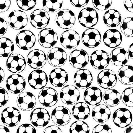 Naadloze zwart-wit sportieve items patroon met klassieke voetbal of voetballen. Sportwedstrijd achtergrond of interieurtextiel ontwerp gebruik