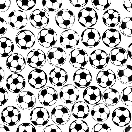 Seamless black and white sporting items pattern with classic football or soccer balls. Sporting competition background or interior textile design usage