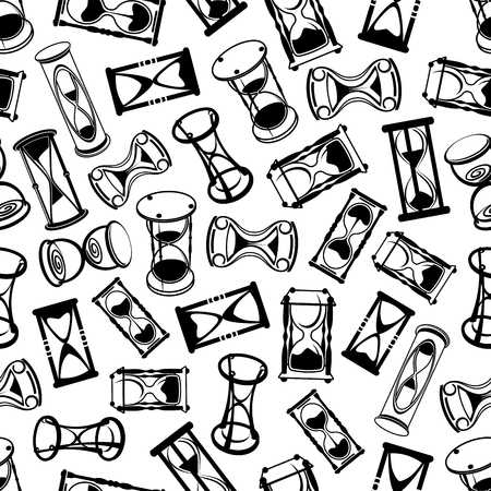 the passing of time: Seamless retro stylized hourglasses background with black and white ornament of abstract sandglasses with decorative stands. Interior design or deadline, countdown, passing time concept Illustration