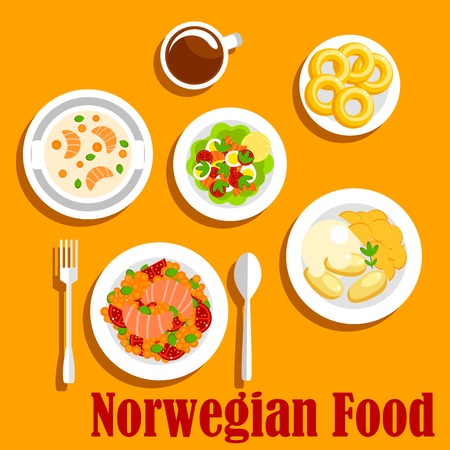 boiled: Popular fish dishes of norwegian cuisine icon with vegetable stew with salmon, boiled potatoes, served with mashed turnip, salmon cream soup, egg salad with fresh tomatoes, lettuce and smoked salmon, glazed donuts with cup of hot chocolate. Flat style