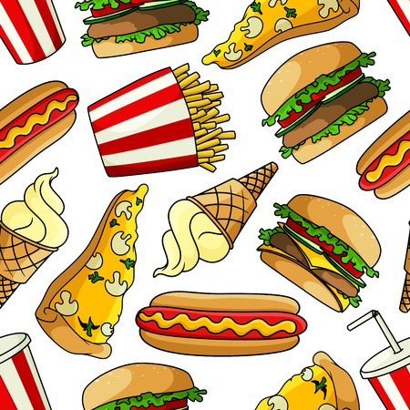 topped: Bright cartoon fast food seamless pattern with vegetarian pizzas topped with mushrooms and cheese, hamburgers and cheeseburgers with fresh vegetables, hot dogs, french fries, paper cups of soda and vanilla ice cream cones on white background Illustration
