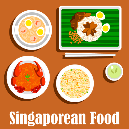 Singaporean dinner icon with flat symbols of fried rice nasi goreng, chilli crab, spicy noodle soup laksa with prawns, chicken rice with hard boiled eggs and chicken liver, served on banana leaf with chopsticks and cup of green tea Illustration