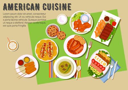 烧烤派对与美国美食菜单扁平化的标志烤排骨,鸡腿,甜椒,配炸薯条,番茄和大蒜酱,热狗和烤肉与芥末和番茄酱,科布沙拉与鳄梨,奶酪,肉和鸡蛋,烤豆wit