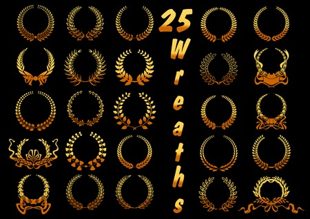 golden ribbon: Heraldic golden laurel wreaths icons with stylized ancient greek winners wreaths, adorned with swirling ribbons, bows and scroll banners. May be used as certificate, sporting achievement, victory, award theme design Illustration