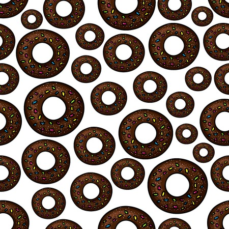 white sugar: Seamless extremely dark chocolate doughnuts pattern with fast food deep fried donuts, topped with rainbow sprinkles and sugar powder over white background. Takeaway dessert menu, cafe interior design usage