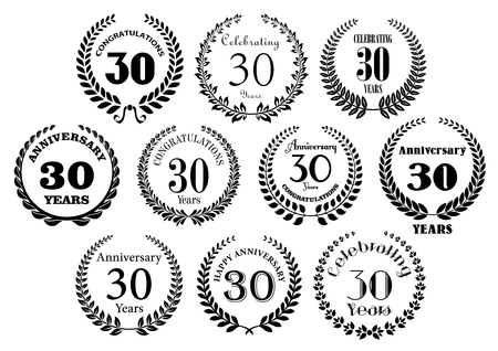 30th: Retro stylized decorative 30th years anniversary laurel wreaths black symbols with greeting text. Great for invitation, festive event and jubilee design usage