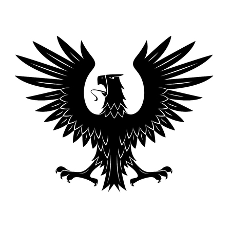 black feathered: Black heraldic eagle of ancient royal insignia or medieval knight coat of arms with rear view of noble bird with spread feathered wings. Great for tattoo or heraldic theme design