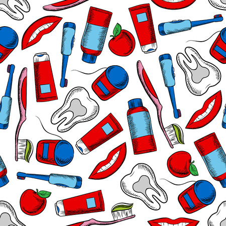 pretty smile: Oral hygiene and dental care colorful background with sketchy seamless pattern of healthy teeth, toothbrushes, floss boxes, toothpaste, pretty smile and red apples fruits. May be used as dentistry, health care theme or textile print design Illustration