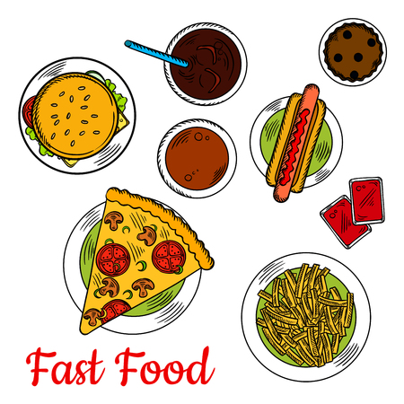 dipping: Sketched vegetarian pizza, topped with mushrooms and tomatoes, served with hot dog, cheeseburger with fresh vegetables on sesame bun, french fries with tomato dipping sauces and chocolate cupcake with coffee and cold soda Illustration