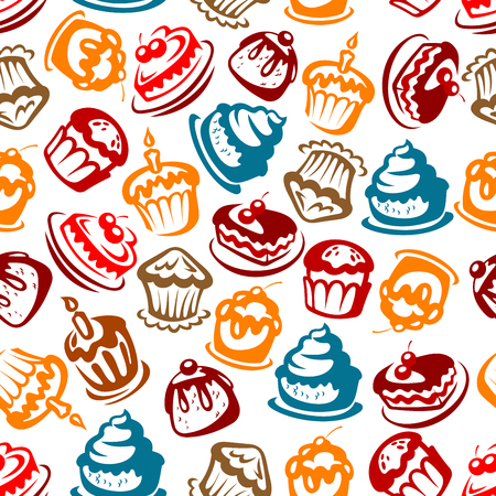 Colorful seamless birthday cakes pattern for celebration party and festive backdrop design with bright sketches of cakes, cupcakes, berry pies and muffins with candles, fruits and cream decoration