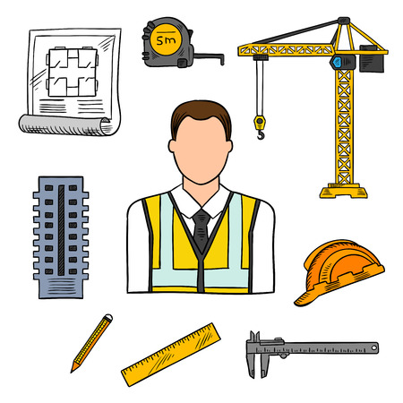 vernier: Civil engineering professions design of architectural engineer in yellow high visibility vest with architects drawing, pencil, ruler, building, protective hard hat, measure tape and vernier caliper. Sketch style