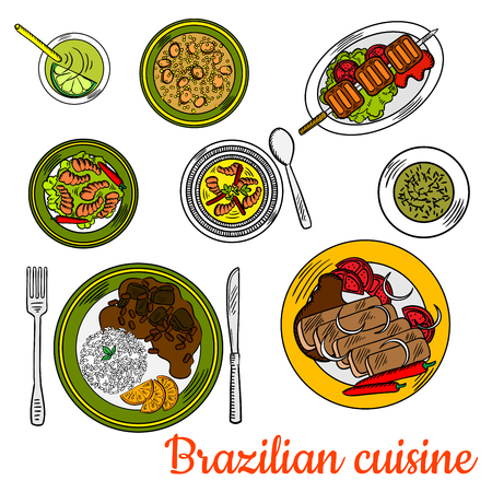 beans and rice: Nutritious brazilian cuisine sketch with colorful symbols of traditional beef picanha skewer, pork and bean stew feijoada served with rice and oranges, shrimp stew, chicken soup canja, spicy prawns with chili peppers, chimichurri sauce and lime cocktail c Illustration