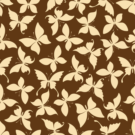 dainty: Yellow butterflies silhouettes seamless pattern of dainty insects with open wings randomly scattered over brown background. Use as retro wallpaper or interior textile design usage Illustration