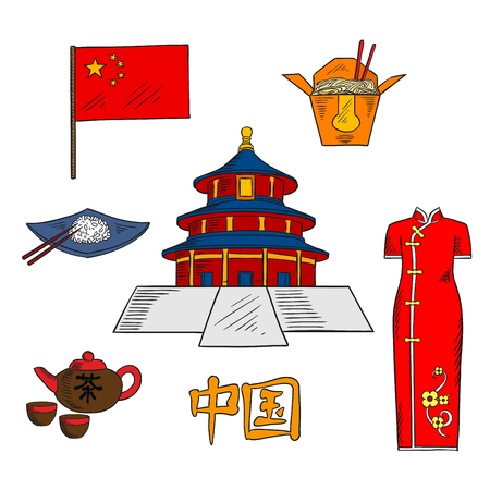 china cuisine: Culture traditions, cuisine and tourist attractions of China with colored sketches of national flag of China, tea set, rice and noodles dishes with chopsticks, ancient temple of Heaven and bright red cheongsam dress. Use as travel or oriental culture desi