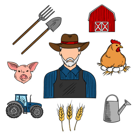 working animals: Retro colored sketch of mature bearded farmer, surrounded with barn, tractor, cereal ears, chicken on a nest with eggs, pig head, watering can and spade with pitchfork. Use as agriculture or livestock professions design Illustration