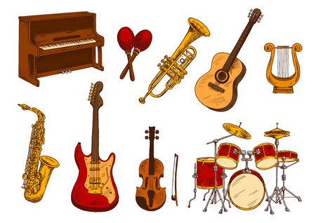 upright piano: Classical orchestra musical instruments retro sketch with colorful upright piano, electric and acoustic guitars, violin, drum set, saxophone, trumpet, lyre and maracas. Concert playbill or music theme design usage