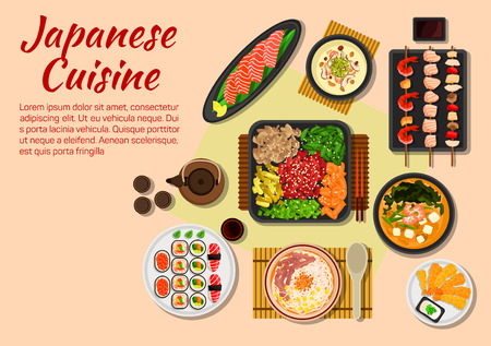 sesame seeds: Japanese stylized grilled beef yakiniku flat icon served with fresh vegetables and herbs, salmon sashimi, sushi plate, fried shrimps with sesame seeds, yakitori skewers, miso shiitake cream soup with prawns, soba miso tofu soup and teriyaki beef noodles w Illustration