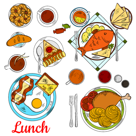 fried fish: Healthy lunch menu icon with colorful sketches of fried egg with bacon and toast with cheese, baked fish, served with potato, pasta with tomatoes and chicken leg, cups of coffee and tea with apple pie, cookies, sweet bun and candies