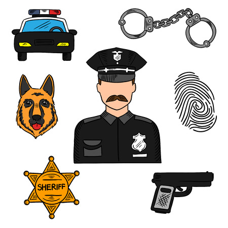 constable: Policeman sketch icon for law, security and police professions design with patrol car, handcuffs, sheriff star, handgun, police dog, fingerprint and officer in black uniform in the center
