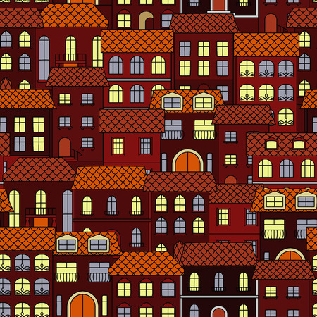 adorned: Vintage seamless cityscape background pattern with evening streets of old town, brown houses with shining windows, adorned by ornamental forging. Use as travel, architecture theme or wallpaper design Illustration