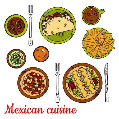 dipping: Traditional mexican taco, filled with fresh vegetables and bacon, crunchy nachos, enchiladas, served with beans, tomatoes and melted cheese, chopped salad, beef and bean stew, green and red salsa sauces, cup of coffee colored sketch icon Illustration
