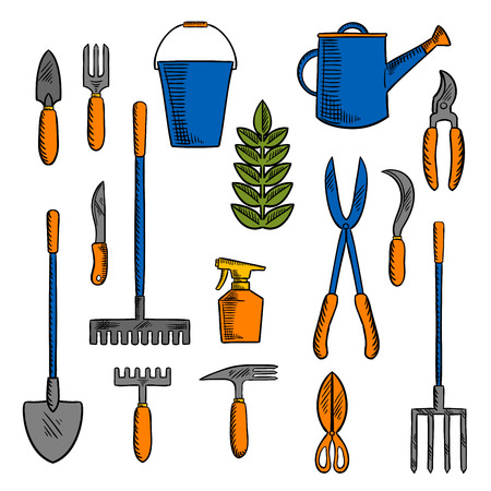 hand trowel: Colorful retro sketches of hand tools for farming and gardening with spade, rake, pitchfork, bucket and watering can, scissors, knife, shears, trowel, forks, sikle, spray bottle and green plant