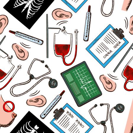 Präventive Medizin und Diagnostik nahtlose Muster mit medizinischen Check-up Formen, Stethoskope, Thermometer, EKG-Monitore, Blutbeutel, Röntgenaufnahmen der Brust, Hören und Brustkrebs-Tests auf weißem Hintergrund. Verwenden Sie als Gesundheits Thema Design