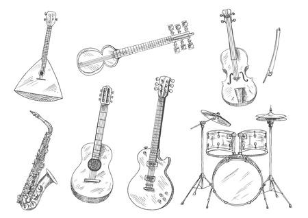 Sketchy zestaw perkusyjny, gitary akustyczne i elektryczne, skrzypce, saksofony, ruskie balalaika i indiańskie ikonki sarodowe. Etniczne i klasyczne instrumenty muzyczne do projektowania sztuk i muzyki Ilustracje wektorowe