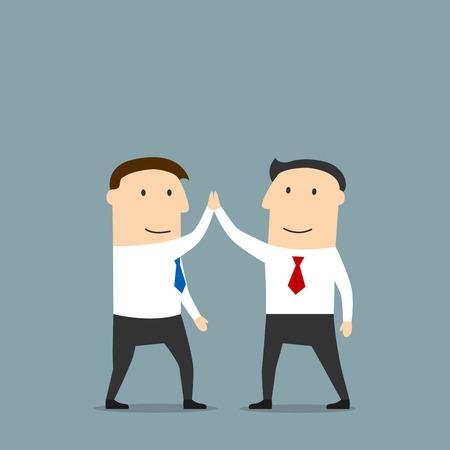 alto: socios de negocios de dibujos animados excitados están haciendo un máximo de cinco, felicitando unos a otros con mucho éxito. Utilizar como colaboración, trabajo en equipo, logro de metas, diseño de celebración concepto Vectores