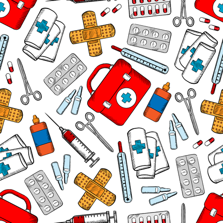 antiseptic: Medicines and medical supplies background with colored sketched seamless pattern of pills, syringes, first aid kits, drug ampoules, plasters, roller bandages, scissors and bottles of antiseptic