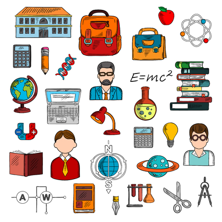 light classroom: School supplies and teacher with pupils icon for education theme design with colorful sketches of books, calculators, laptop, pencil, backpacks, school building, globe, light bulb, formula, DNA, atom, laboratory flasks, circuit, magnet, scissors, planet,  Illustration