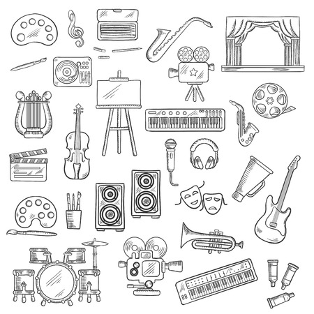tragedy: Entertainment themed sketches with palettes, paint brushes and easel, movie cameras and film reel, microphone and musical instruments, theatre scene, tragedy and comedy masks, loudspeakers and headphones, megaphone and clapperboard Illustration