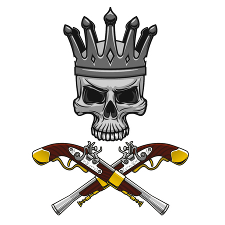 crowned: Cartoon crowned pirate skull with crossed vintage pistols instead crossbones. Great for Jolly Roger symbol or king of pirates mascot design usage