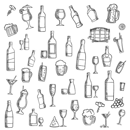 whisky bottle: Drinks sketch icon with cocktails, wine, beer, vodka, champagne, martini, whisky and sake, barrel of ale, juice, soft beverages and milk shakes with fruit and cheese snacks. Use as cocktail party or food and beverages theme design
