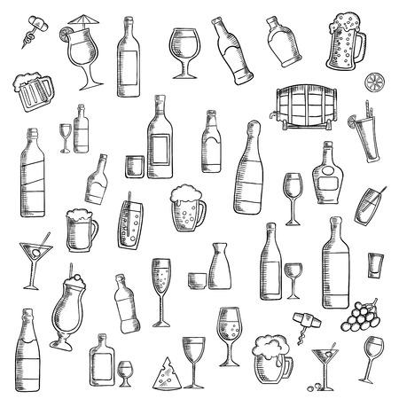 cocteles de frutas: icono de las bebidas boceto con cócteles, vino, cerveza, vodka, champán, martini, whisky y sake, el barril de cerveza, jugos, bebidas gaseosas y batidos de leche con bocadillos de frutas y queso. Utilizar como cóctel o diseño tema de alimentos y bebidas