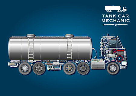 crankshaft: Modern tank truck symbol with fuel tanker provided with two ladder and silhouette of truck tractor, composed of wheels, crankshaft, axles, transmission and suspension systems, ball bearings, fuel tank, battery, steering wheel, pressure hoses, windows, gea Illustration