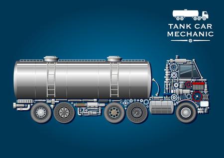 tanque de combustible: Moderno símbolo de camión cisterna con tanque de combustible provisto de dos escalera y la silueta de camión tractor, compuesto de ruedas, el cigüeñal, ejes, sistemas de transmisión y suspensión, rodamientos de bolas, depósito de combustible, la batería, el volante, las mangueras de presión, ventanas, gea