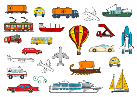 passenger transportation: Colored sketches of various modes of transportation with cars and taxi, airplanes, ambulance, bus, fishing boat and yacht, railroad tank car and tanker truck, electric train and car, cruise liner, hot air balloon, baggage truck and passenger stairs, space
