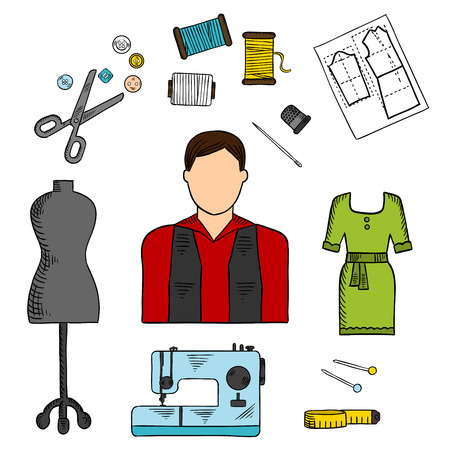 thimble: Fashion designer with sewing tools symbol for professions of service industry design with scissors, needles and pins, threads, sewing machine, mannequin, tailor tape measure, buttons and thimble, green summer dress and paper pattern. Sketch style