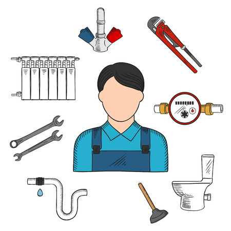 the leak: Colored sketch of plumber with hand tools and equipments such as: adjustable wrench, spanners, water meter, plunger, toilet, water faucet, pipe with leak and heating radiator. Use as service industry professions symbol or plumber tools design