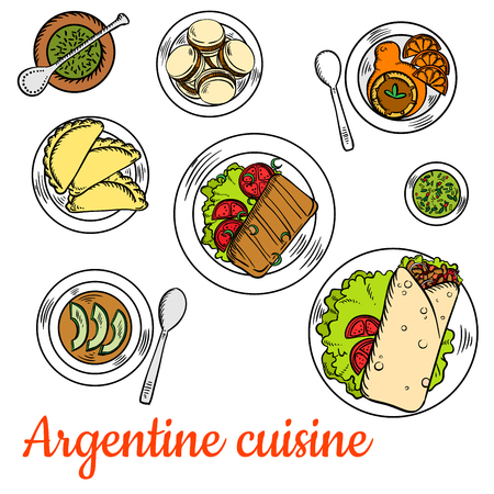 alfajor: Argentine fast food steak wraps, served with dishes of national cuisine such as asado short ribs, empanadas, chimichurri sauce, vegetarian cream soup with avocado, alfajor cookies and dulce de leche dessert with fresh oranges and mate tea. Colorful sketch
