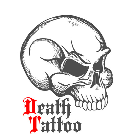half turn: Decorative vintage sketch of human skull for tattoo or death symbol design with half turn profile of anatomically detailed cranium and text Death Tattoo in roman style Illustration