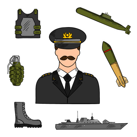 trooper: Military man surrounded by army, navy, marines and coast guards sketch symbols for armed forces design usage with colorful naval warship, torpedo, submarine, body armor, boots and grenade icons Illustration