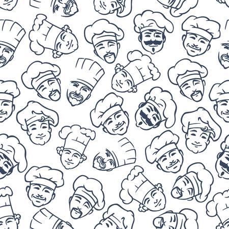 japanese cookery: Chefs and bakers pattern with seamless gray sketches of happy smiling cooks in chef hats on white background. May be use as kitchen interior or textile print design Illustration