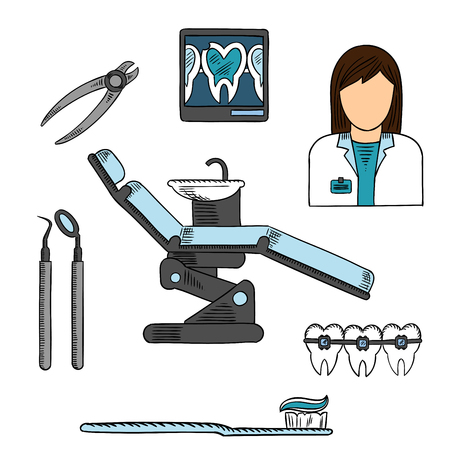 dental mirror: Dentist office with working place of female dentist, xray image of cracked tooth on display board, dentist chair with dental mirror, probe and pliers, toothbrush with toothpaste and teeth with braces. Sketch symbols for health care and dentistry design