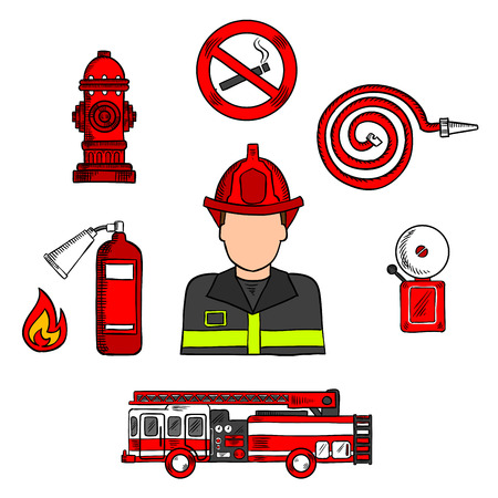 water hose: Colored sketch of fireman in protective uniform and red helmet with fire truck, water hose, hydrant, no smoking sign, flame and fire alarm. Great for fire protection theme or professions design usage