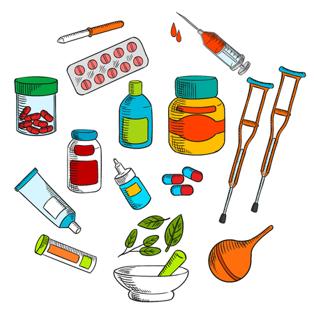 ointment: Alternative herbal and conventional medicine drugs with colorful symbols of medicine bottles, pills, drops, syringe, capsules, marble mortar and pestle with green herbs, crutches, pipette, enema and ointment tube. Sketch style Illustration