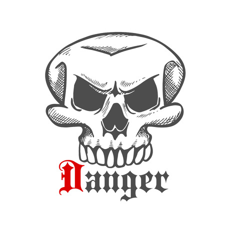 eye sockets: Spooky Halloween ghost or monster engraving stylized sketch with angry old skull and gothic caption Danger. May be use as tattoo or mascot design Illustration