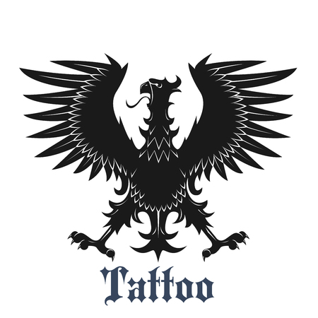 adorned: Heraldic eagle symbol for tattoo or coat of arms design usage with black bird in classic position with outstretched wings and legs, adorned by curved pointed feathers Illustration